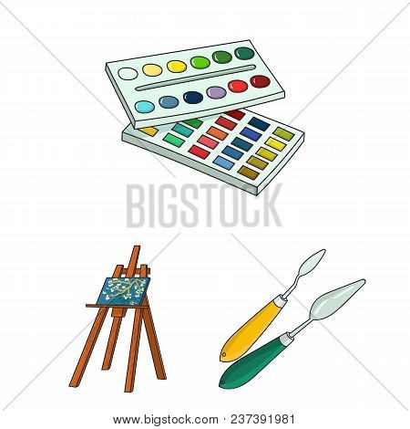 Painter And Drawing Cartoon Icons In Set Collection For Design. Artistic Accessories Vector Symbol S