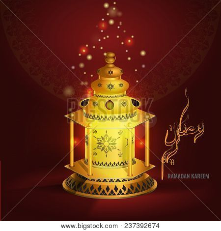 Ramadan Kareem Vector Greetings Design With Lantern Or Fanoos Mock Up With Red Background. Vector Il