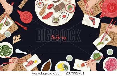 Horizontal Banner Template With Asian Restaurant Table Full Of Japanese Food And Hands Holding Sushi
