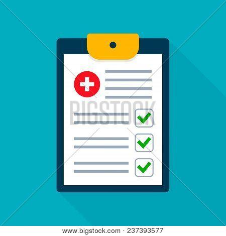 Medical Checklist Health Check Form On Clipboard. Vector Flat Illustration Health Checkup Healthcare
