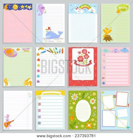 Kids Diary Vector Childish Notebook Blank And Childly Page Template Of Children Book For Notes Or Me