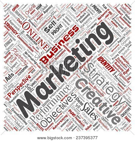Conceptual development business marketing target square red word cloud isolated background. Collage advertising, strategy, promotion branding, value, performance planning or challenge