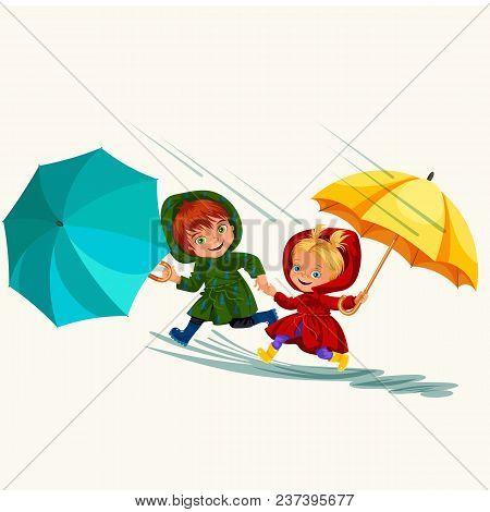 Children Walking Under Raining Sky With An Umbrella, Drops Of Rain Are Dripping Into Puddles, Rainin