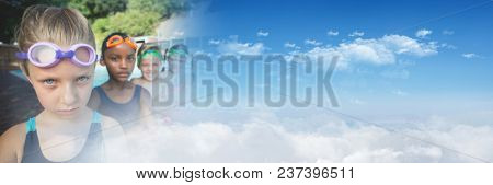 Children at Swimming pool with sky transition