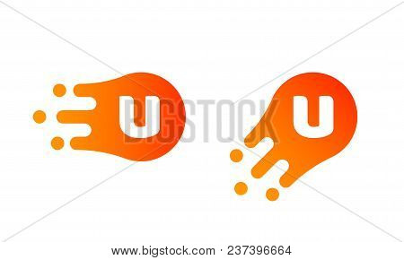 Letter U Logo Template Of Abstract Liquid Bubble Shape For Modern Company. Vector Creative Z Logo In