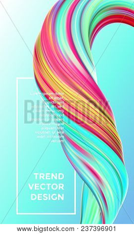 Vector Digital Painting Abstract Background. Creative Vivid 3D Flow Paint Wave. Trendy Blue Green Li