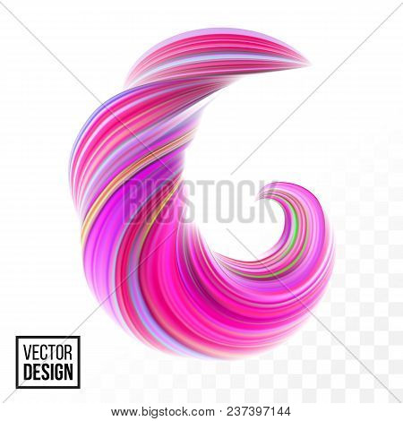 Abstract Vector Digital Color Paint Background. Creative Vivid 3D Flow Fluid Paint Wave. Trendy Pink