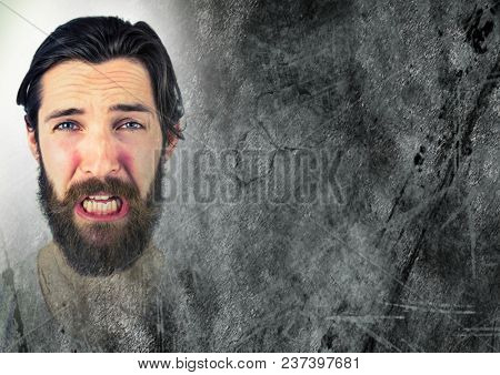 Portraiture of frustrated man and grey grunge transition