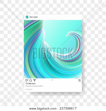 Instagram Photo Frame Template With Creative Gradient Illustration Background. Vector Mobile Social