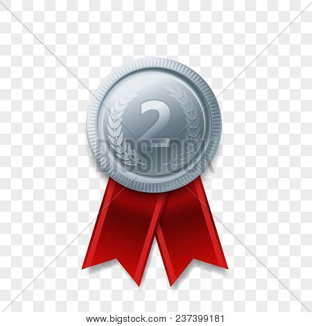 2 Winner Silver Medal Award With Ribbon Vector Realistic Icon Isolated On Transparent Background. Nu