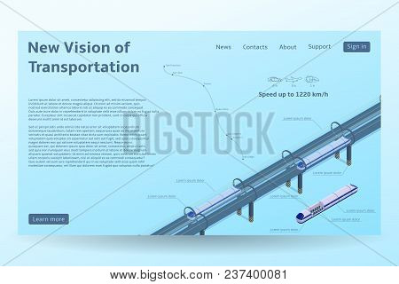 Isometric Hyperloop Transport Concept Banner. Vector Illustration With Future Transportation And The