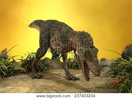3d Rendering Of A Dinosaur Tarbosaurus On A Yellow Light Background