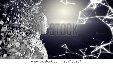 Digital composite of White network and white male AI against dark background and flare