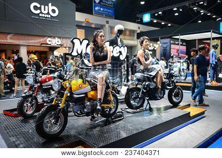 Bangkok, Thailand - April 03, 2018 : New Honda Monkey 125cc 2008 At Honda Exhibition Booth At Bangko