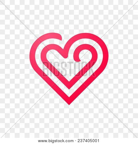 Heart Logo Vector Icon. Isolated Modern Heart Symbol For Cardiology Medical Center Or Charity, Valen