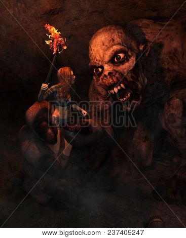 3d Illustration Of The Girl With Torchlight Discover A Monster In Derelict Cave,3d Fantasy Art For B