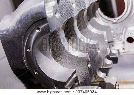Aircraft Engine. Internal Components Of The Aircraft Engine. Aerial Engine Detail. View Of The Disma