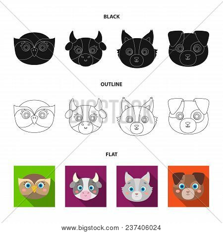 Owl, Cow, Wolf, Dog. Animal Muzzle Set Collection Icons In Black, Flat, Outline Style Vector Symbol
