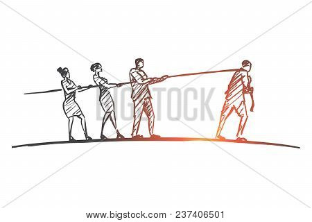 Vector Hand Drawn Contradiction Concept Sketch With Three People Pulling Rope To One Side And Man Pu