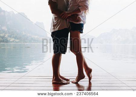 Traveling couple having a romantic moment