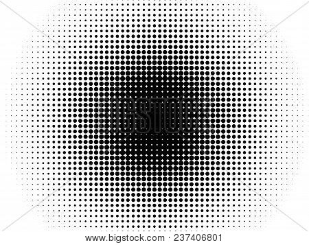 Radial Halftone Pattern Texture. Vector Black And White Radial Dot Gradient Background For Retro, Vi