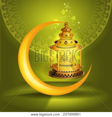 Ramadan Kareem Vector Greetings Design With Lantern Or Fanoos Mock Up With Green Background. Vector