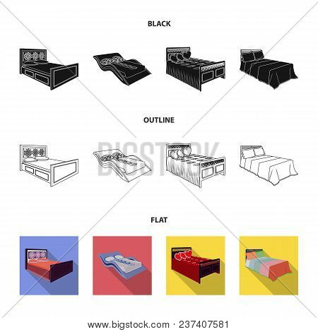 Different Beds Black, Flat, Outline Icons In Set Collection For Design. Furniture For Sleeping Vecto