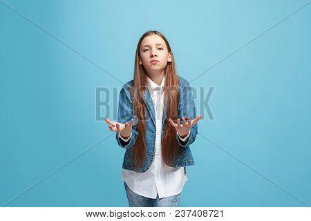 Argue, Arguing Concept. Beautiful Female Half-length Portrait Isolated On Blue Studio Backgroud. You