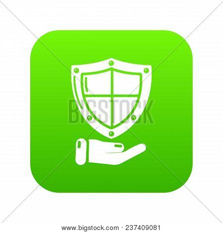 Shield Icon Green Vector Isolated On White Background