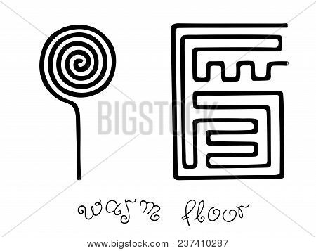 Vector Illustration Of Floor Heating Systems With Hand Lettering. Black Pipe Of Warm Floor For Logo,