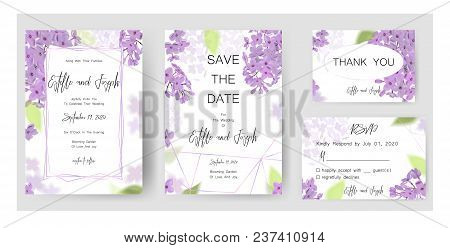 Save The Date Card, Wedding Invitation, Greeting Card With Beautiful Lilac Flowers And Letters The W