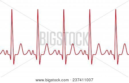 Vector Heartbeat Cardiogram. Red Line Seamless Electrocardiogram Pulse Line. Cardiology Medical Wave