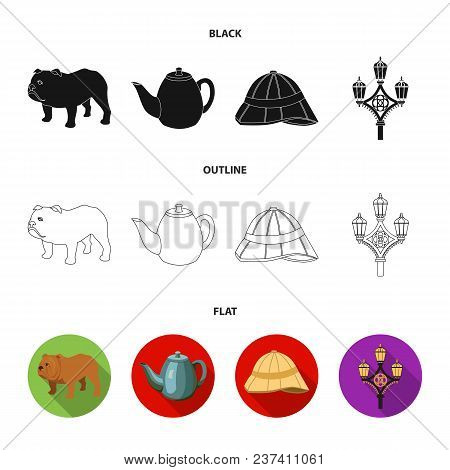 Breed Dog, Teapot, Brewer .england Country Set Collection Icons In Black, Flat, Outline Style Vector