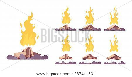 Bonfire Construction Set. Large Fire Built In Open Air With Blazing Combustion To Burn Leaves, Garba