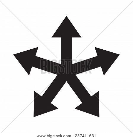 Multiple Arrow Direction Icon. Vector Five Way Arrow Option Symbol Or Sign For Infographic Chart Or