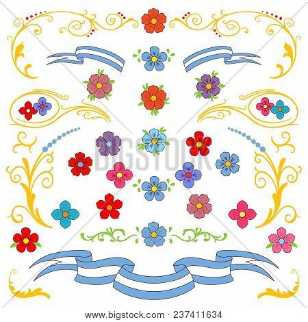 Hand Drawn Vector Illustration With Traditional Buenos Aires Fileteado Ornament Elements - Flowers,
