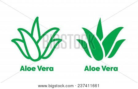Aloe Vera Green Icon For Natural Organic Product Package Label. Isolated Aloe Vera Leaf Sign For Cos