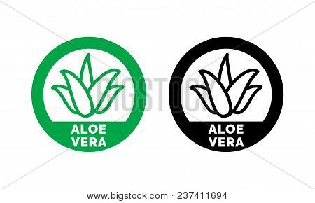 Aloe Vera Green Leaf Label For Natural Organic Product Package. Isolated Aloe Vera Leaf Circle Icon