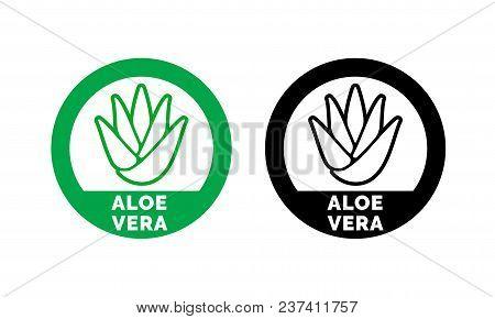 Aloe Vera Label Or Green Leaf Icon For Natural Organic Moisturizing Gel And Lotion. Aloe Vera Leaf C