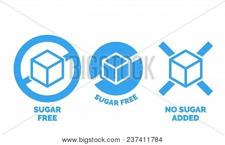 Sugar Free Label For No Sugar Added Product Package Icon Design Template. Vector Blue Sugar Free Foo
