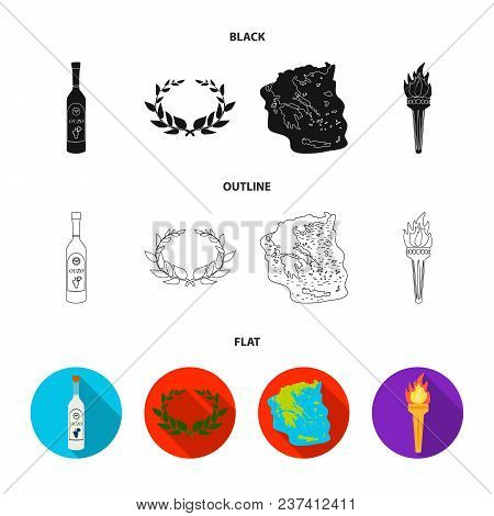 Greece, Country, Tradition, Landmark .greece Set Collection Icons In Black, Flat, Outline Style Vect
