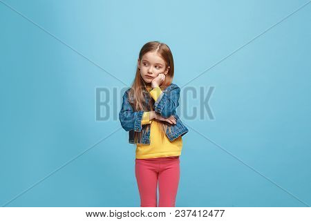 Why Is That. Beautiful Female Half-length Portrait Isolated On Trendy Blue Studio Backgroud. Young E