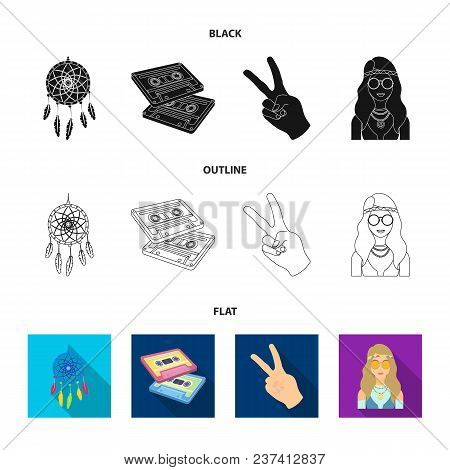 Amulet, Hippie Girl, Freedom Sign, Old Cassette.hippy Set Collection Icons In Black, Flat, Outline S