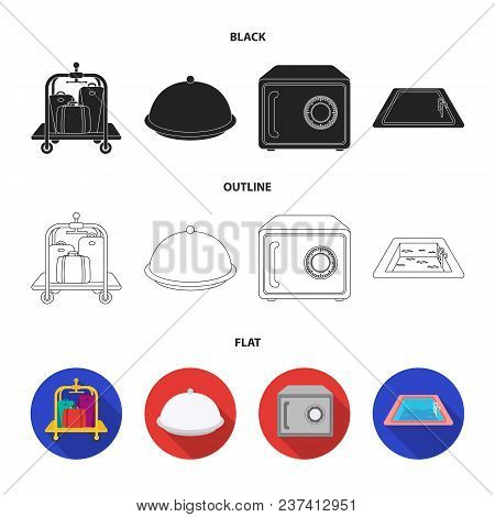 Trolley With Luggage, Safe, Swimming Pool, Clutch.hotel Set Collection Icons In Black, Flat, Outline