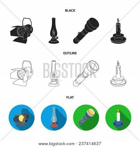Searchlight, Kerosene Lamp, Candle, Flashlight.light Source Set Collection Icons In Black, Flat, Out
