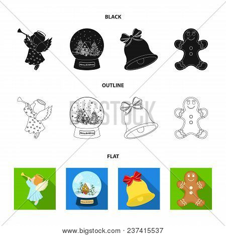 Angel, Glass Bowl, Gingerbread And Bell Black, Flat, Outline Icons In Set Collection For Design. Chr