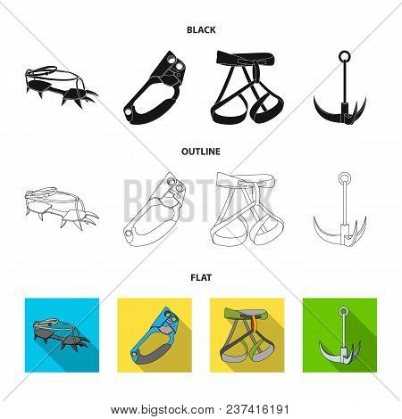 Hook, Mountaineer Harness, Insurance And Other Equipment.mountaineering Set Collection Icons In Blac