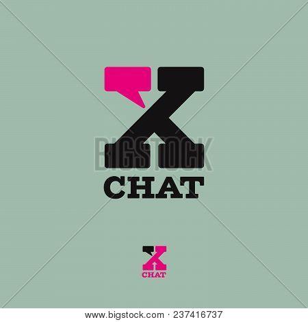 X chat, secret chat logo. Letter X with a comics bubble. Conversation, correspondence, secret emblems. A black letter with a pink bubble. poster
