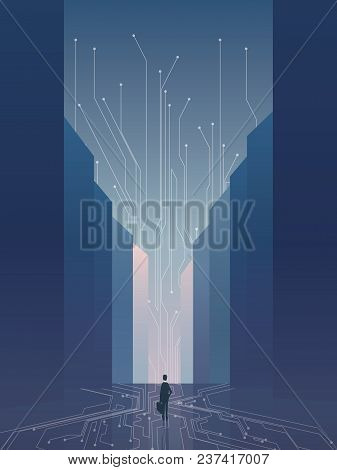 Smart City Vector Concept Background With It Specialist, Developer, Programmer. Recruitment Poster T