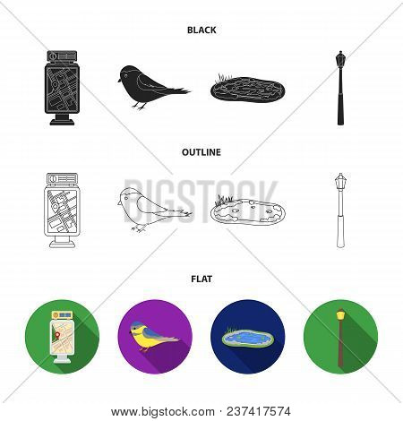 Territory Plan, Bird, Lake, Lighting Pole. Park Set Collection Icons In Black, Flat, Outline Style V
